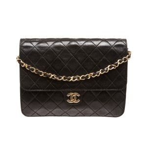 Chanel Pre Owned - Chanel Black Quilted Lambskin Single Flap Shoulder Bag | Bluefly.Com