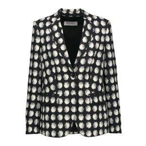 Floral-print crepe blazer