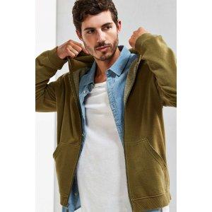 Amadeo Destroyed Full Zip Hoodie Sweatshirt | Urban Outfitters