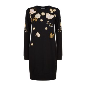 Whistles Embroidered Sweater Dress