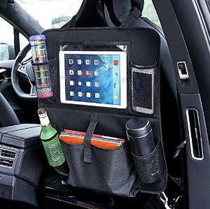 Back of Seat Organizer, MaidMAX Backseat Organizer/Protector with Touch Screen Pocket for Android & iOS Tablets & 5 Pockets for Baby, Kids, Travel Accessories