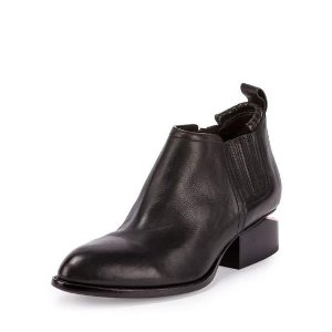 Kori Leather Lift-Heel Ankle Boot, Black