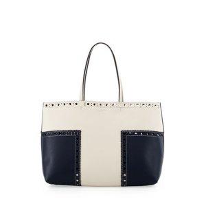 Tory Burch Block-T Brogue Leather Tote Bag