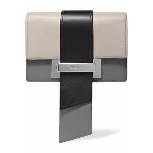 Metal Ribbon color-block leather clutch