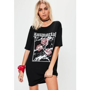Petite Black Immortal Slogan T-Shirt Dress