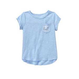 Girls Sky Blue Pocket Tee by Gymboree