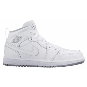 Jordan AJ1 Mid - Boys' Preschool - Basketball - Shoes - White/White/Wolf Grey