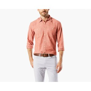 PREMIUM CHAMBRAY SHIRT, SLIM FIT | RED PAINT | Dockers® United States (US)