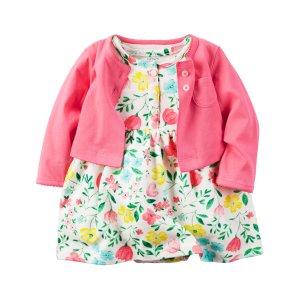 Baby Girl 2-Piece Bodysuit Dress & Cardigan Set | Carters.com
