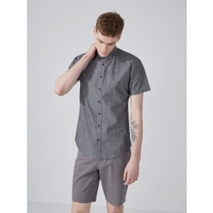 The Short-Sleeve Odessa Chambray Shirt in Black | Frank And Oak