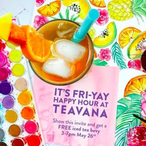 Happy Hour! A FREE Iced Teaon May May 26 from 3-7pm @ Participating Teavana® Stores