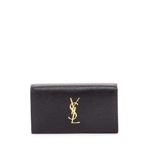 Saint Laurent Monogram Grain Calfskin Clutch Bag, Black