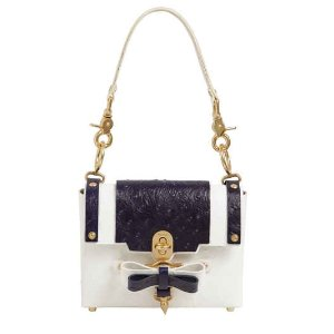 SMALL BOW BUCKLE EMBOSSED LEATHER BAG