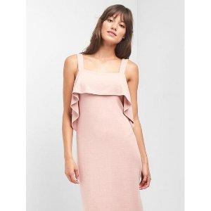 Softspun ruffle midi dress | Gap