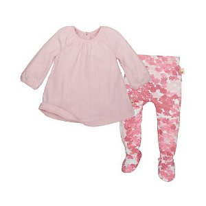 Organic Cotton Pointelle Dress & Footed Pant Set