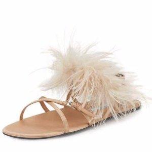 Prada Feather-Embellished Crisscross Flat Sandal, Neutral