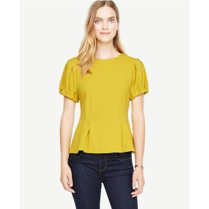 Structured Bubble Sleeve Top | Ann Taylor