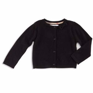 Burberry Bethany Cashmere Button-Front Cardigan, Black, Size 3M-3Y