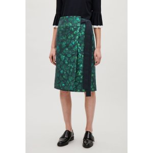 Wrap-over jacquard skirt - Green - Sale - COS US