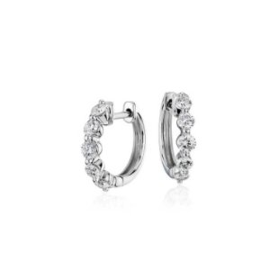 40% offDiamond Huggie 14K White Gold Hoop Earrings @ Blue Nile