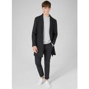 Gray Textured Overcoat - Coats & Jackets - Clothing