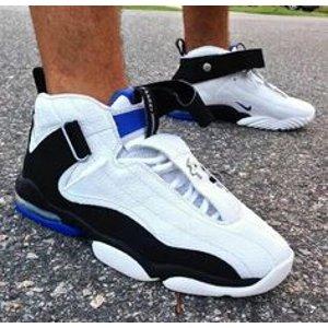 Nike Air Penny IV - Men's - Basketball - Shoes - White/Black/Atlantic Blue