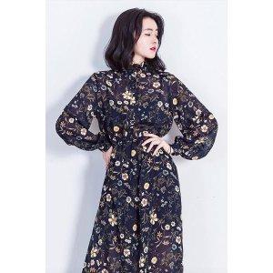 Feminine Vintage Flower Dress--Navy Blue
