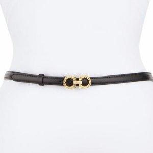 Salvatore Ferragamo Textured Gancini Leather Belt, Black