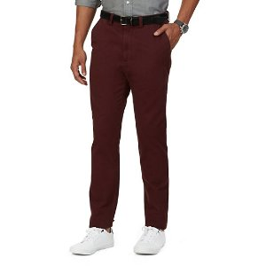 Classic Fit Flat Front Pant - Shipwreck Burgundy | Nautica