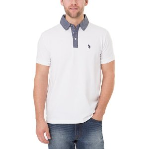 Black Mallet Slim Fit Chambray Collar Polo Shirt