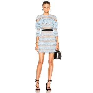 self-portrait Stripe Grid Mini Dress in Baby Blue