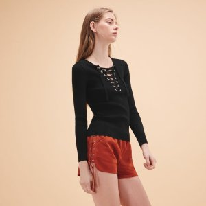 ILAN Lace up suede shorts - Skirts & Shorts - Maje.com