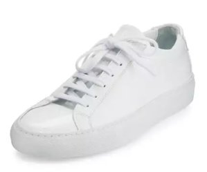 $301(Org. $430)Common Projects Achilles Patent Leather Sneaker, White @ Bergdorf Goodman