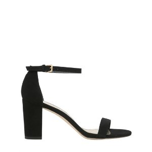 STUART WEITZMAN - 75MM NEARLY NUDE SUEDE SANDALS - SANDALS - BLACK - LUISAVIAROMA