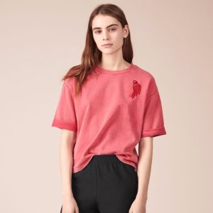 TRENDY Embroidered cotton T-shirt - Tops & T-Shirts - Maje.com