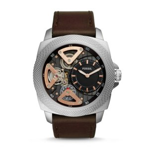 Privateer Sport Mechanical Brown Leather Watch - Fossil