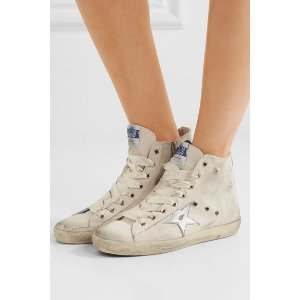 Golden Goose Deluxe Brand   Francy distressed leather-paneled canvas high-top sneakers   NET-A-PORTER.COM