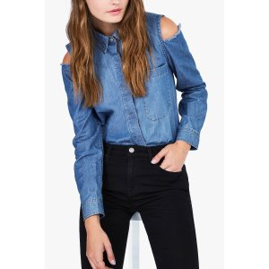Long Sleeve Cold Shoulder Shirt in Authentic Vista Blue - 7FORALLMANKIND