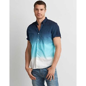 AEO Short Sleeve Dip Dye Shirt, Blue | American Eagle Outfitters