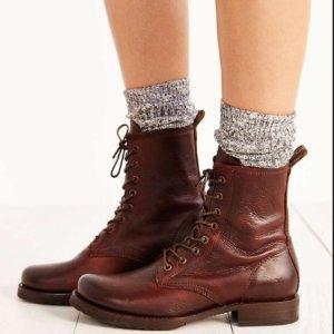 $199.9FRYE 'Veronica Combat' 真皮系带短靴 5色