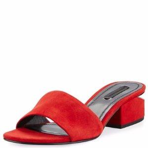 Alexander Wang Lou Cult Suede Slide Sandal, Red
