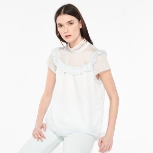 Top With High Lacy Frilled Collar - Tops & Shirts - Sandro-paris.com