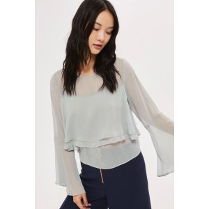 Flute Crinkle Sleeve Blouse - Tops - Clothing - Topshop USA