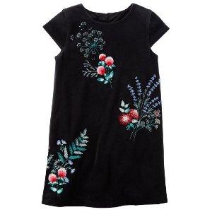 Embroidered Floral Velvet Dress