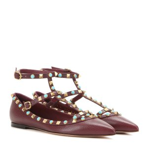 Valentino Garavani Rockstud Rolling leather ballerinas