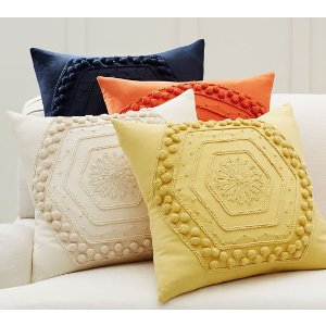 Pom Pom Embroidered Pillow Cover | Pottery Barn