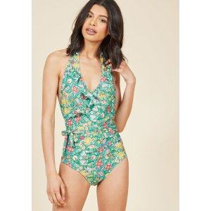 Here Comes Ruffle One-Piece Swimsuit in Jade Garden | ModCloth