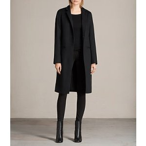 ALLSAINTS US: Womens Nehru Luna Coat (Black)