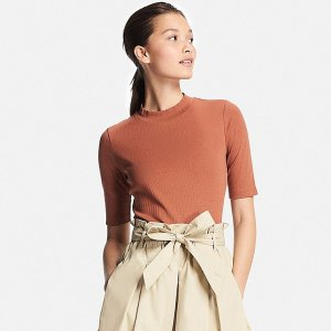 WOMEN RIBBED HIGH NECK HALF SLEEVE T-SHIRT | UNIQLO US