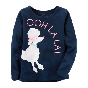 Kid Girl Long-Sleeve Poodle Graphic Tee | Carters.com